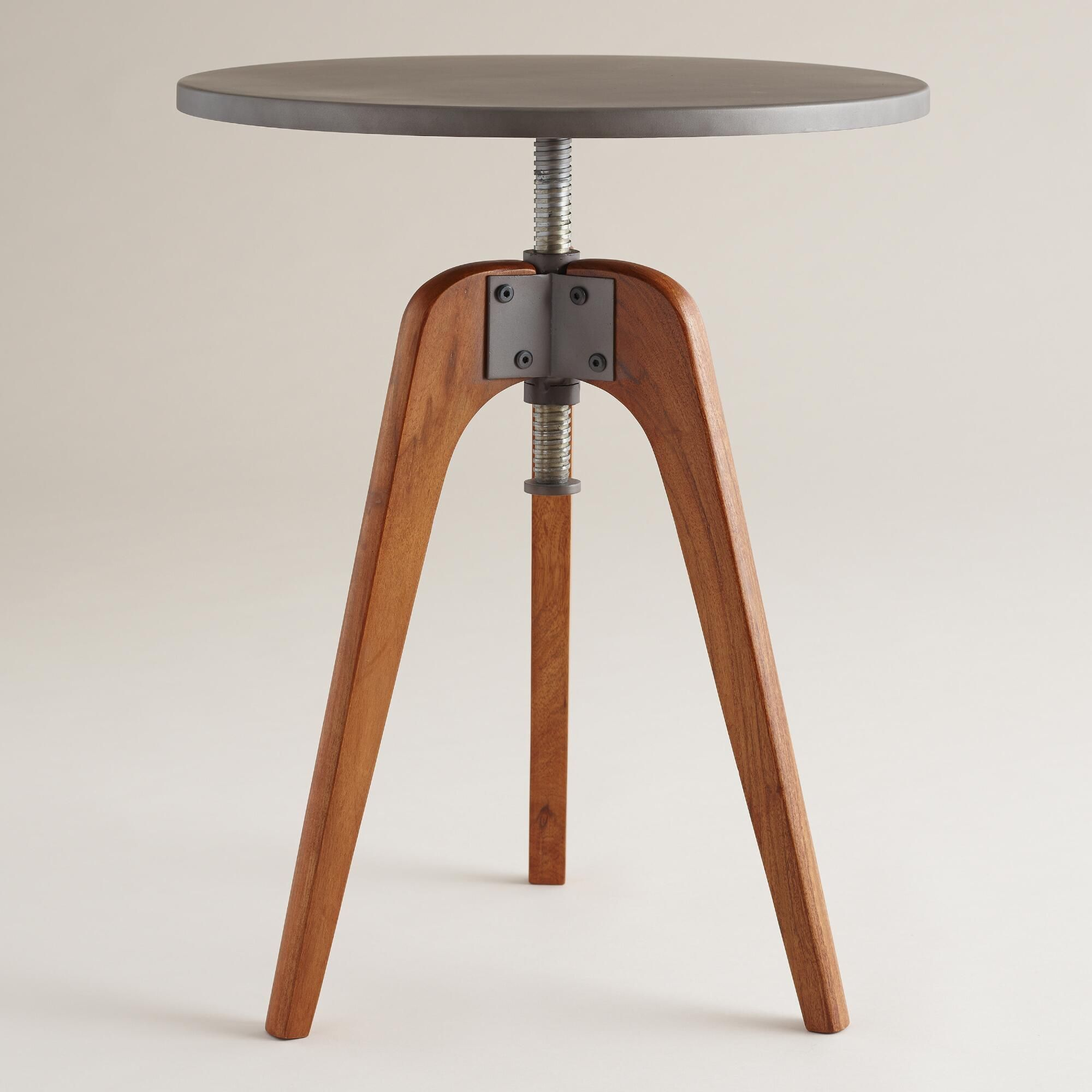 Wood And Metal Uriah Adjustable Accent Table: A Mix Of Industrial And Mid-century, Our Accent Table