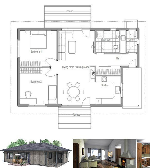 Small house plan in one level Simple shapes and classical design