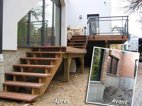 terrasse en bois avec escalier terrasse pinterest terrasse bois terrasses en bois et. Black Bedroom Furniture Sets. Home Design Ideas