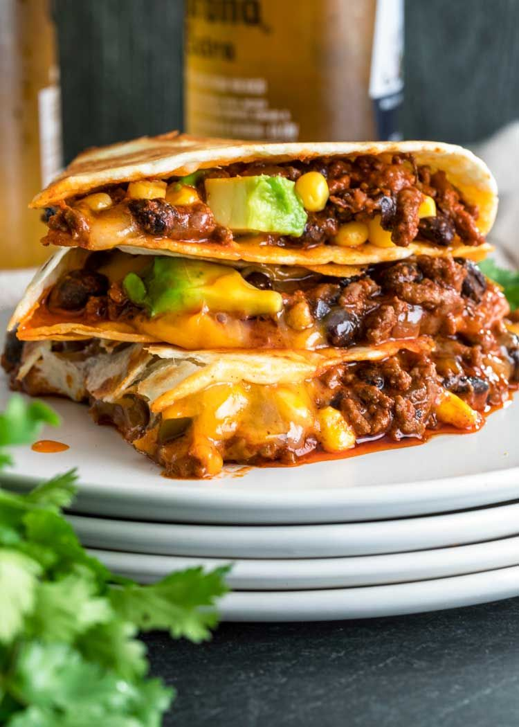 My Crispy Ground Beef Quesadillas Are Filled With Melted Queso Quesadilla Cheddar Or Monterey Beef Quesadillas Ground Beef Quesadillas Quesadilla Recipes Beef