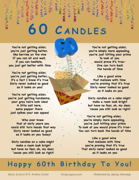 Lyric Sheet for original 60th birthday song for a man composed by – Happy 60th Birthday Cards