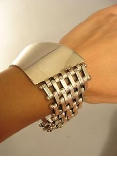 Vintage Taxco Mexico Sterling Silver Bracelet. STITCH FIX - I would wear a bracelet like this all the time!! Large and silver