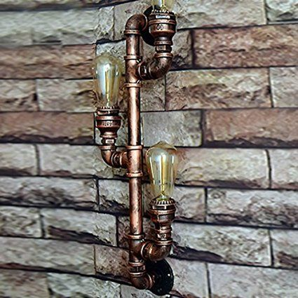 Water Pipe Wandleuchter, SUN RUN Metall 3 Kopf Vintage Industrial - bar fürs wohnzimmer