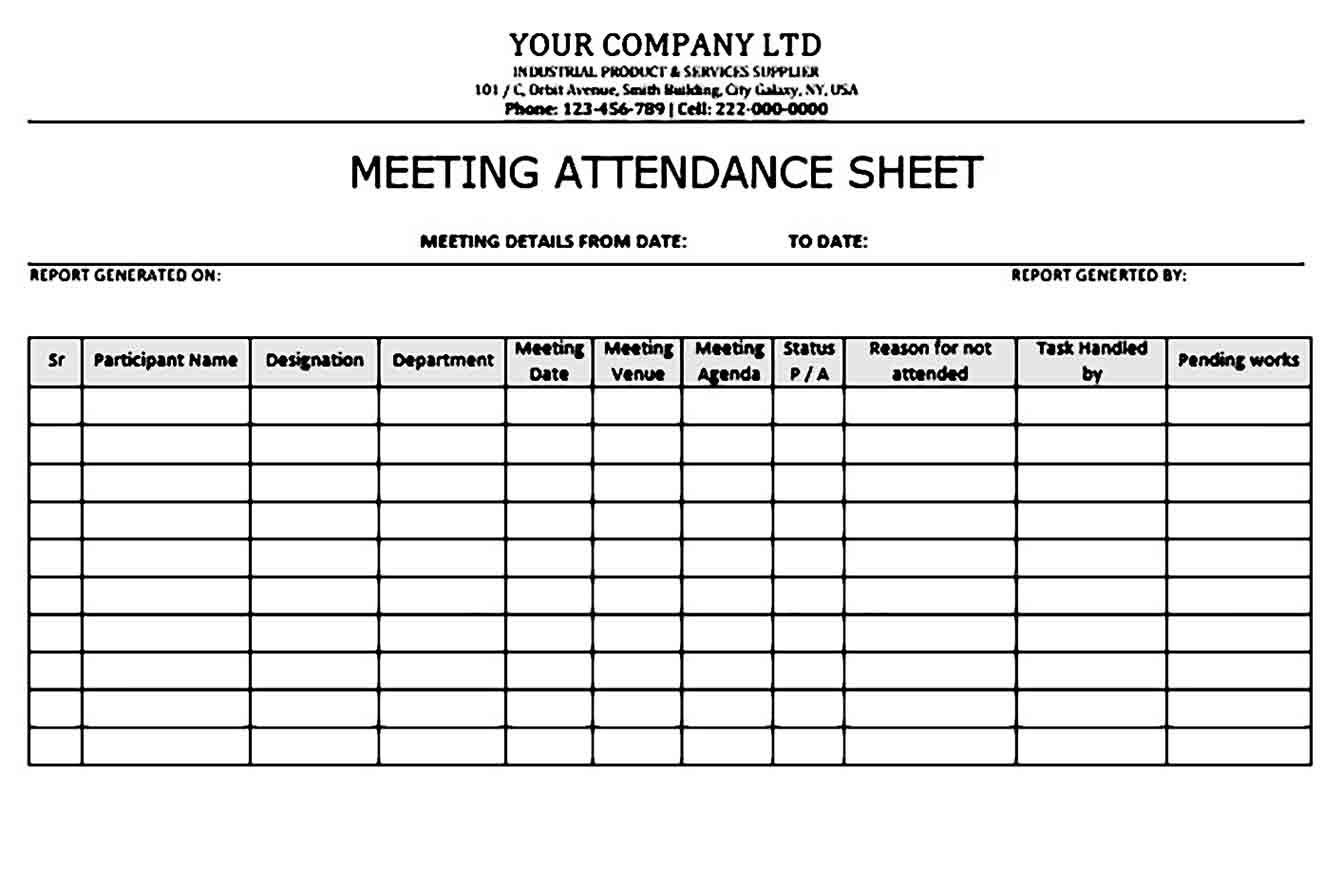 Unique Meeting Attendance Sheet Xlstemplate Xlssample Xls Xlsdata