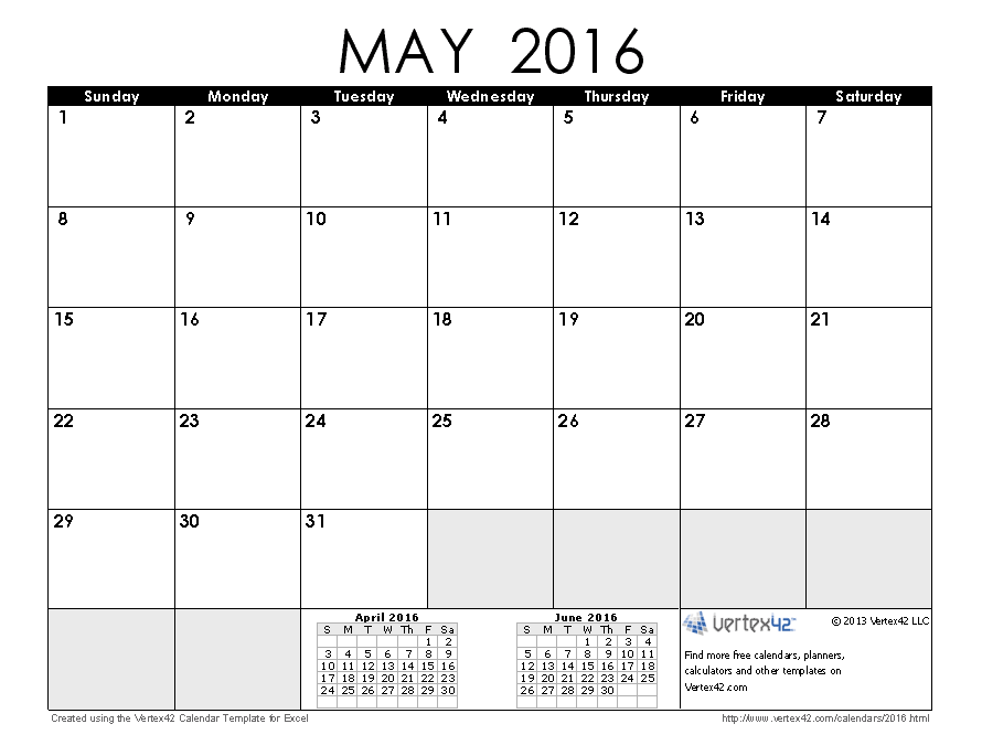 Download a free May 2016 Calendar from Vertex42.com | Stuff to Buy ...