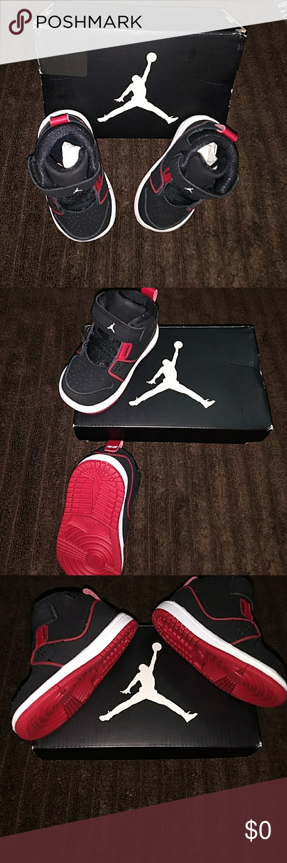 15ba73ff25ba6b Baby Boy Jordan 1 Flight Sneakers Black White - Gym Red Jordan Sneakers  Jordan Shoes Baby   Walker