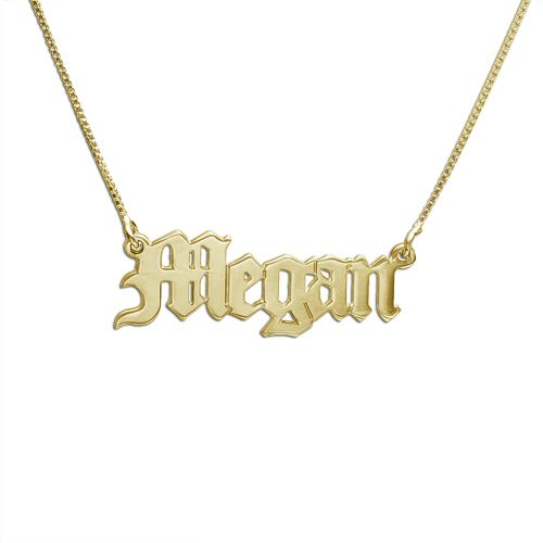 Necklace Charm 14K Yellow Gold Personalized Custom Old English Name Pendant