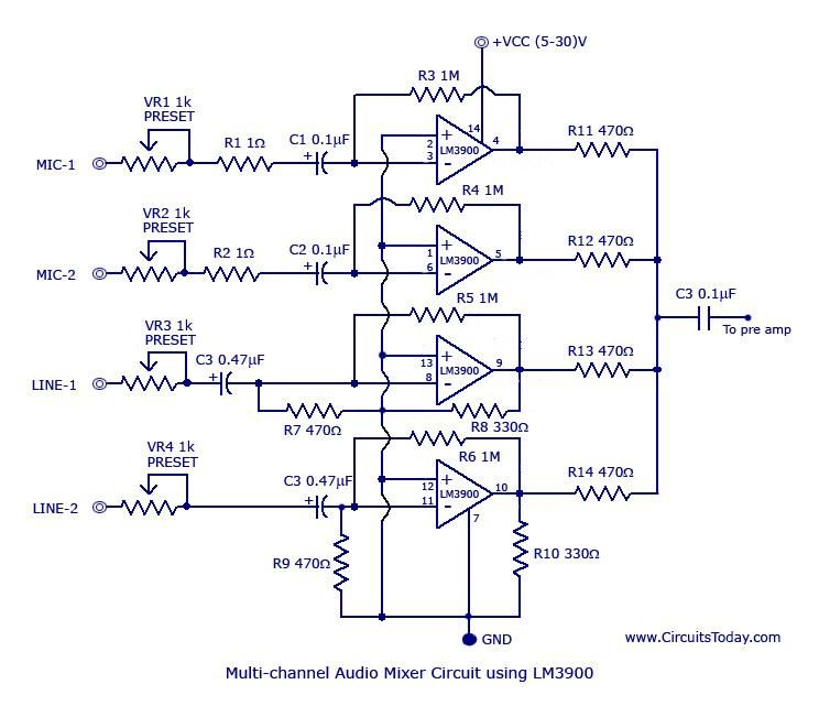 multi channel audio mixer circuit electronica pinterest rh pinterest com mixer circuit diagram soundcraft efx 12 mixer circuit diagram pdf