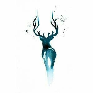 Watercolor Deer Harry Potter Tattoos Patronus Tattoo Stag Tattoo