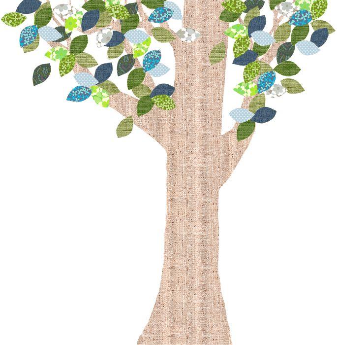 Tapetenbaum Groß Natur/blau/grün