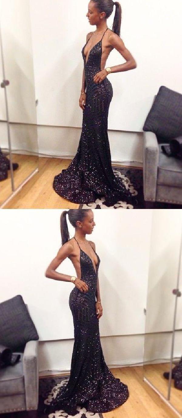 Backless prom dress pretty prom dress black mermaid prom dress