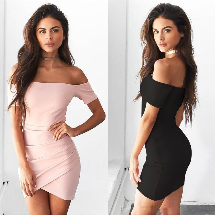 Pink & Black Off Shoulder Short Sleeve Bodycon Homecoming Dresses -   17 cocktail dress Tight ideas