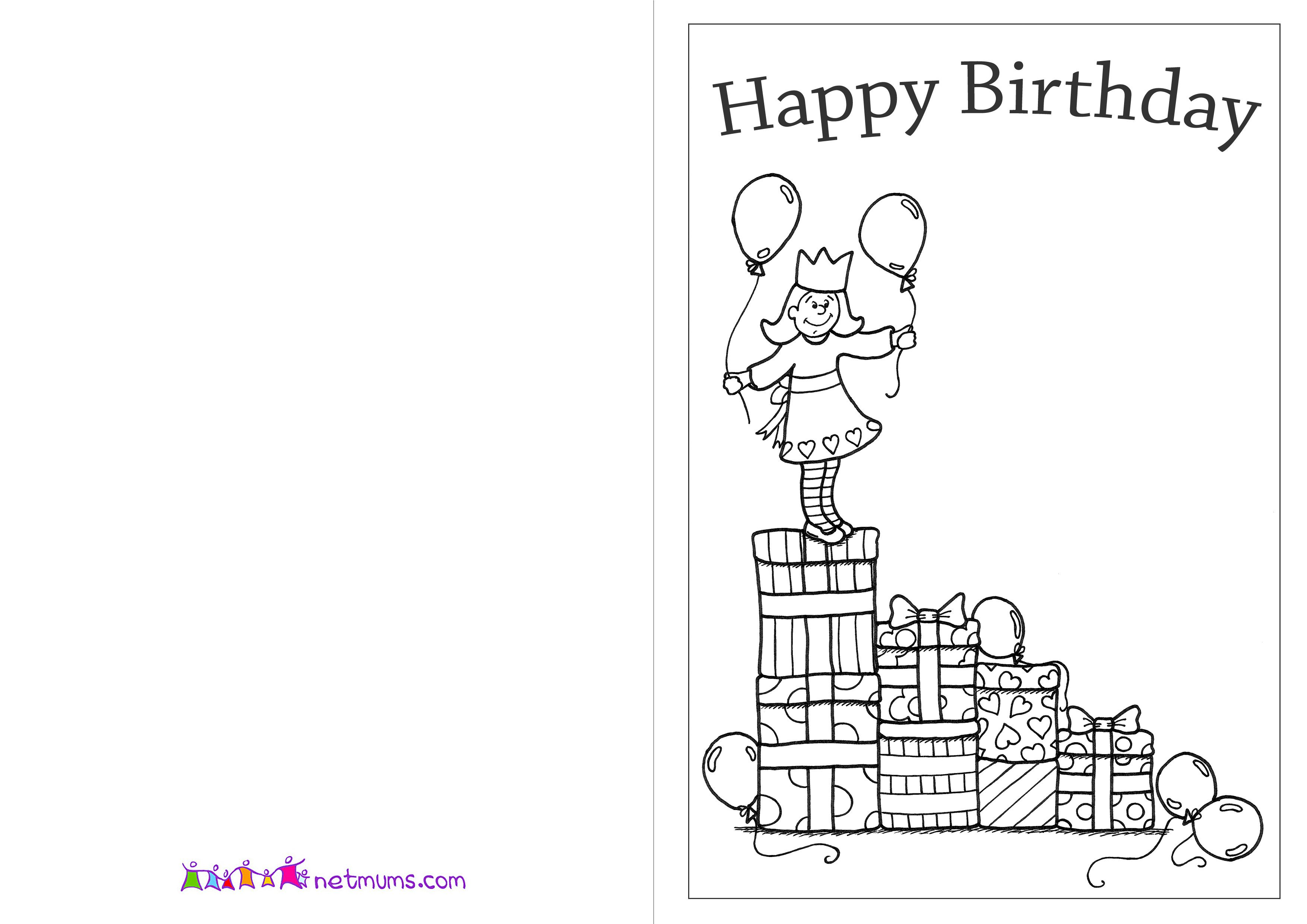 Birthday Cards And Pictures To Print And Colour Coloring