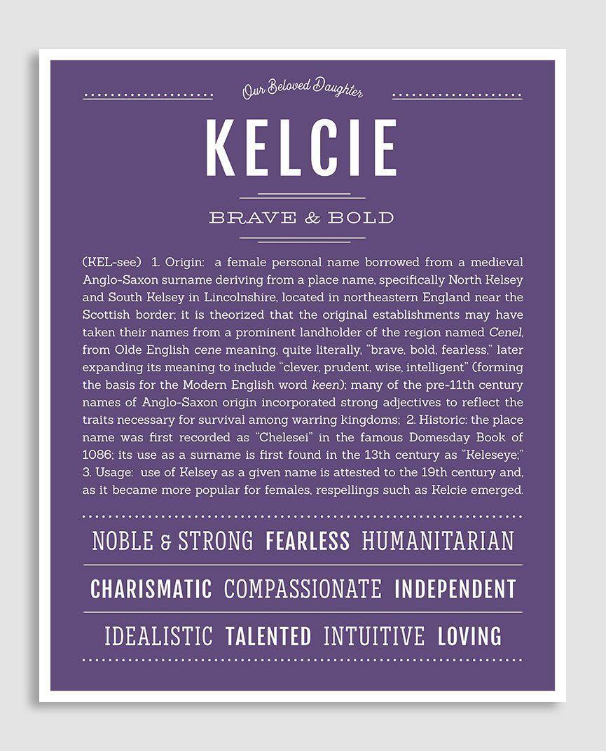 Kelcie   Classic Name Print   Classic names, Names with ...