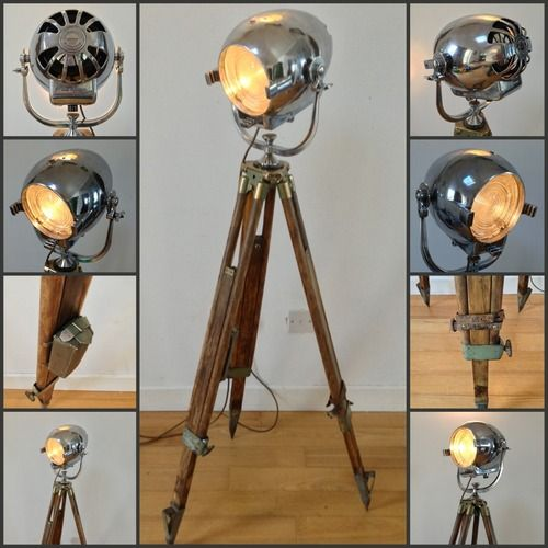 A stunning original 1950's Strand spot light mounted on a military WW2 extendable tripod - to be exhibitied by mid20c at the Mid Century Vintage Fair at Bedruthan Hotel & Spa: http://ow.ly/pUuzW