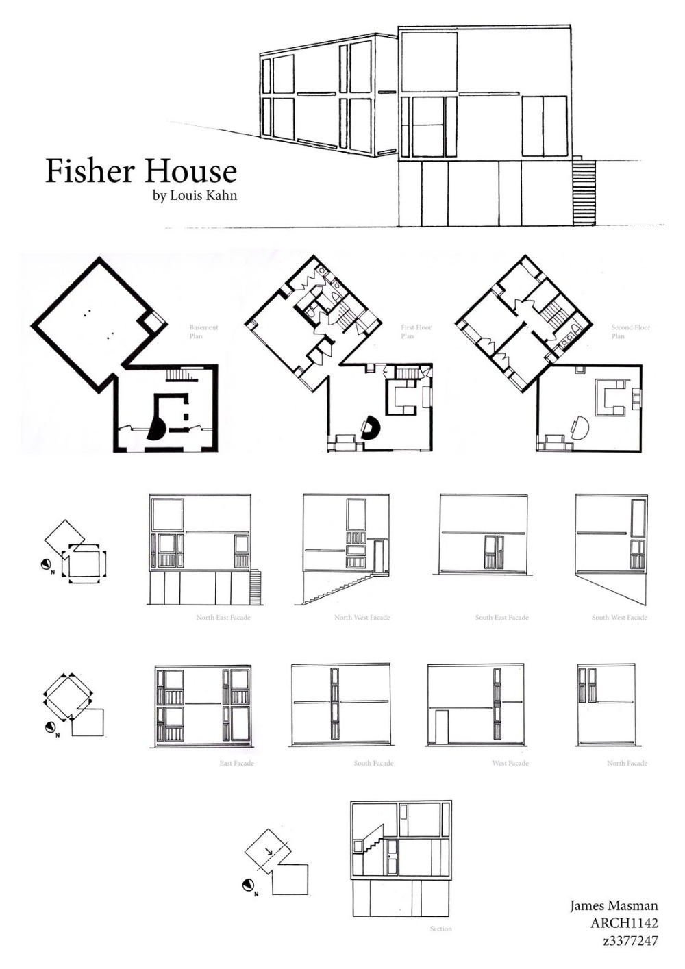 Fisher House Louis Kahn Plan Section
