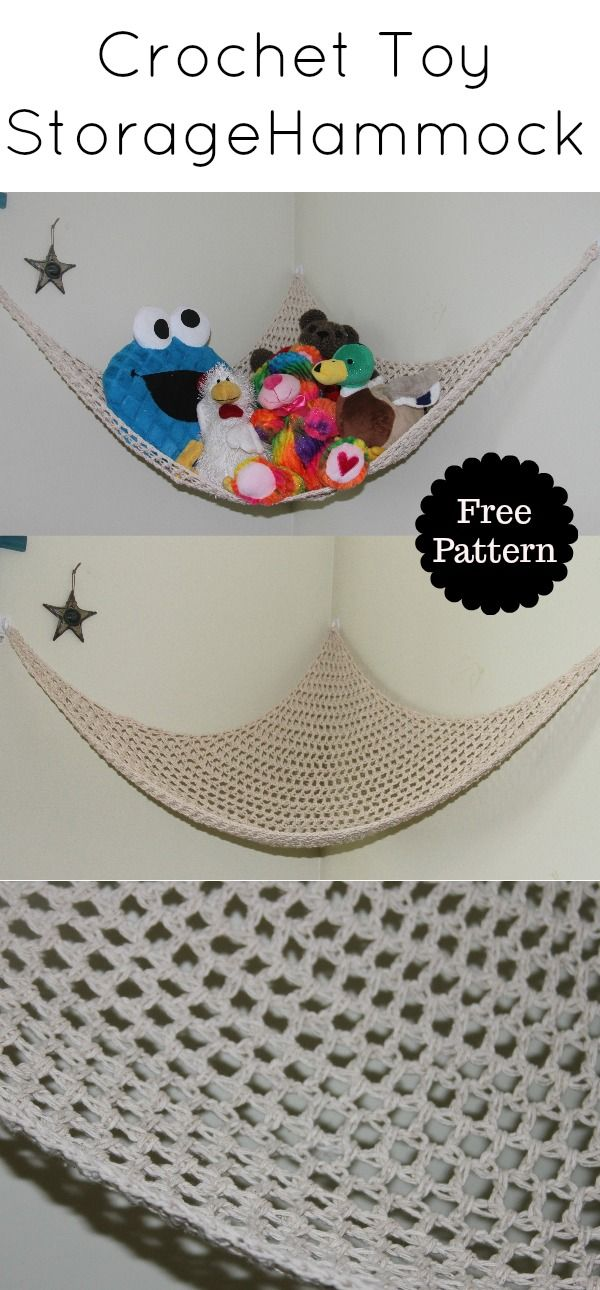 Crochet toy storage net hammock - Traversebaycrochet.com