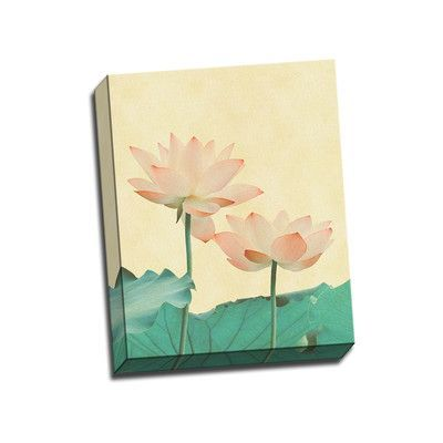 Picture it on Canvas Asian Paintings Lotus Painting Print on Wrapped Canvas