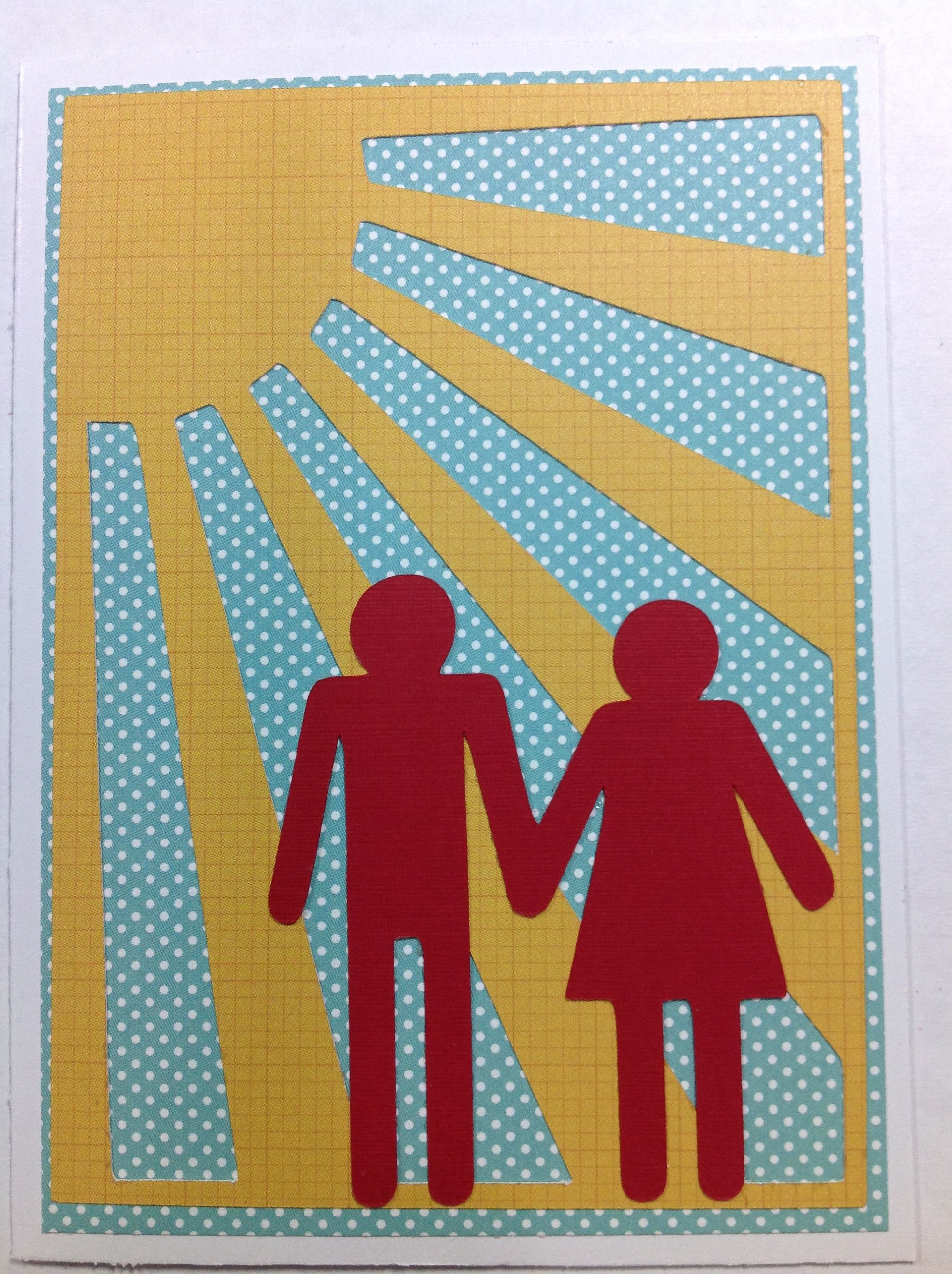 Day 29: Card-A-Day with Mandy Leahy | Sentiment Free Card  I used the real dial size to cut the sun burst and the couple. Thanks for the help! This made me feel like a card you could give to a couple symbolizing their bright future.
