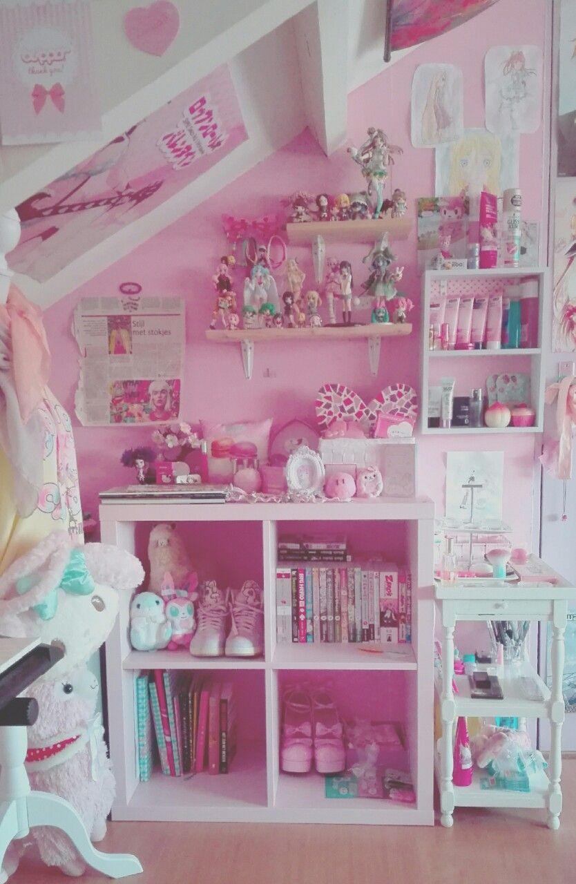 Cute nightstand bookshelf combo idea for Dormitorio kawaii