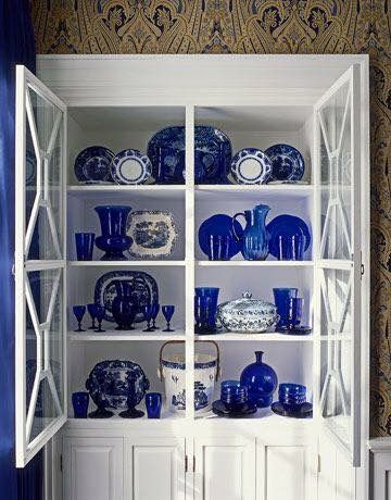 Dining Room Cabinet Filled With Cobalt Blue Glassware, Transferware And  Chinese Porcelain. Known As Blue Willow) Another Name May Be Used Toile.