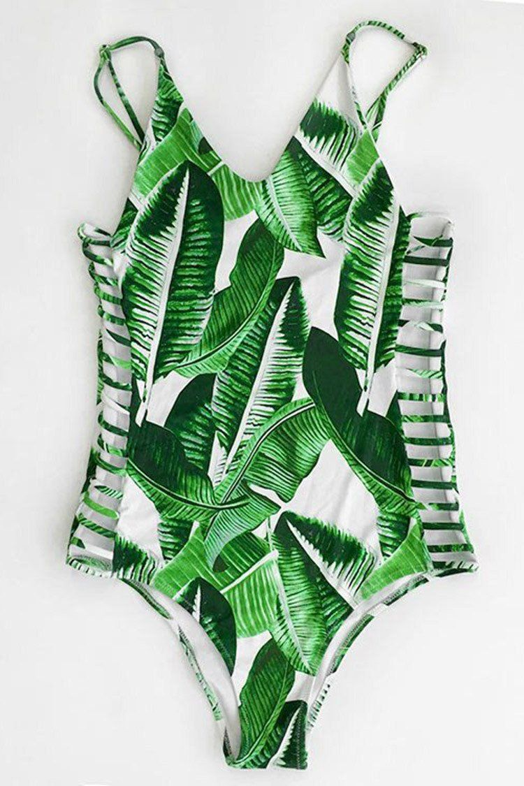 e322e2e0032 Banana Leaves Print One-piece Swimsuit summer, swim, swimwear, vacation