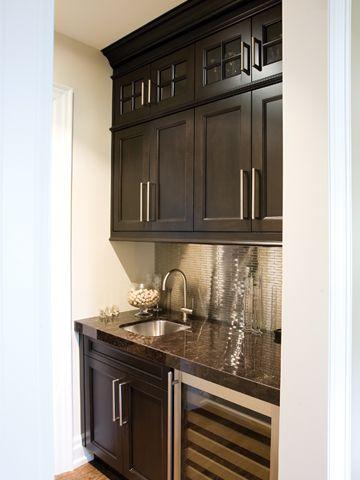 Dark Cabinets, Bar Fridge.