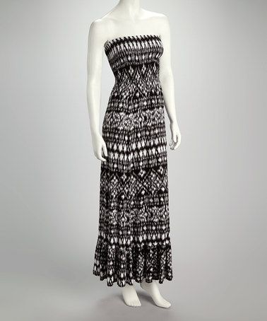 05740377668f Take a look at this Black & White Geometric Strapless Maxi Dress by Madison  Paige on #zulily today! $22.99