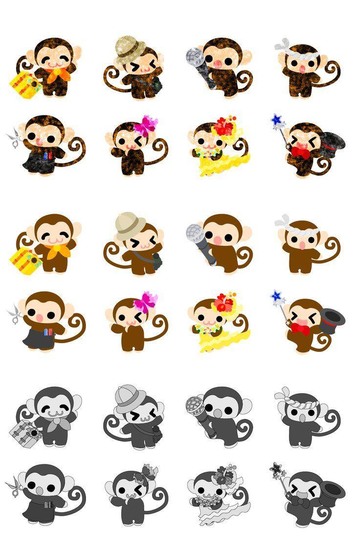 フリーのイラスト素材「可愛いお猿さんのアイコン / the icons of