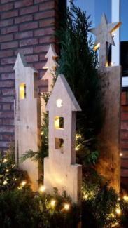 Gartensäule Gartendeko Palettendeko Weihnachten Holz Advent #palettendeko