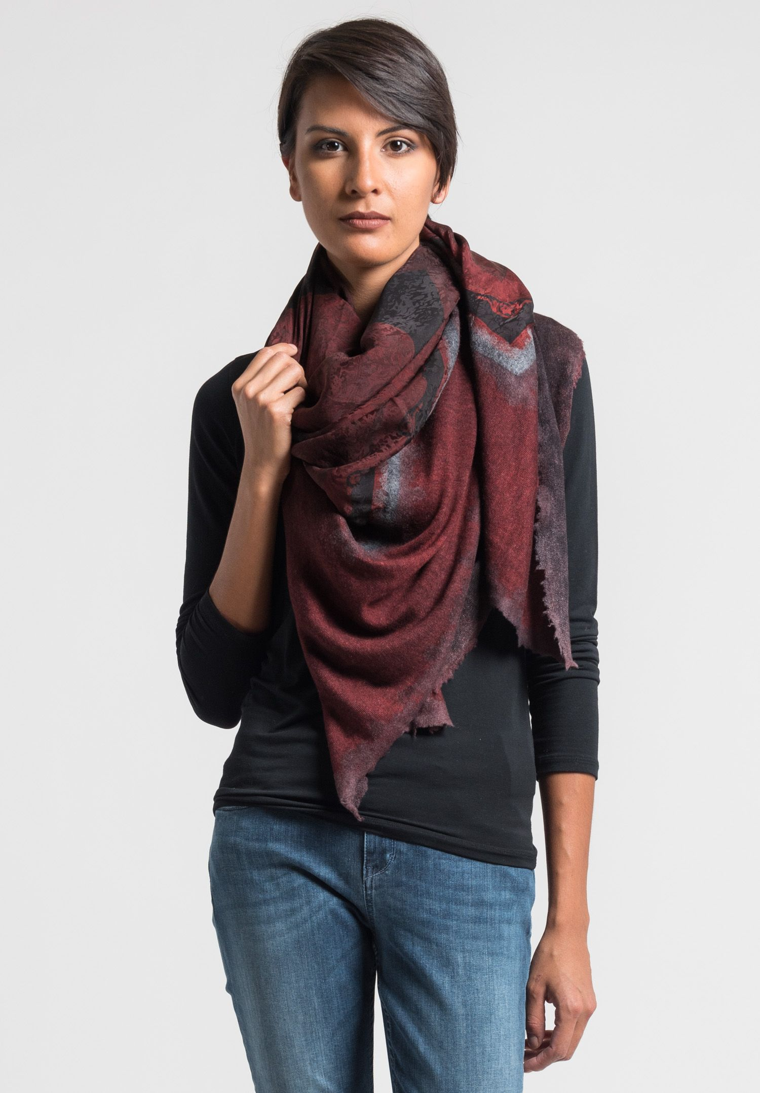 Avant Toi Cashmere/Silk Baroque Print Scarf in Red