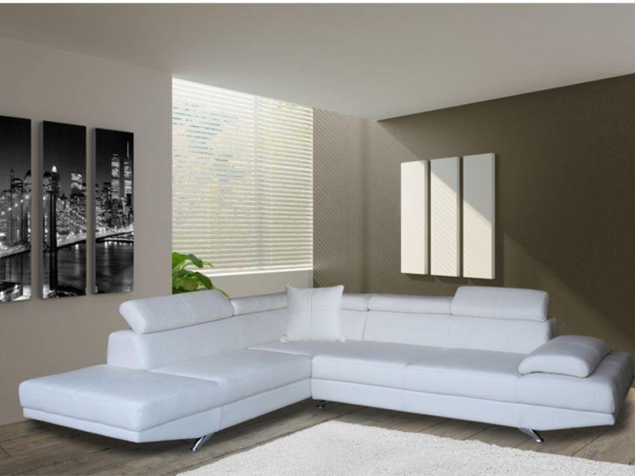 Sofa rinconero XL de piel sintetica blanco angulo izquierdo