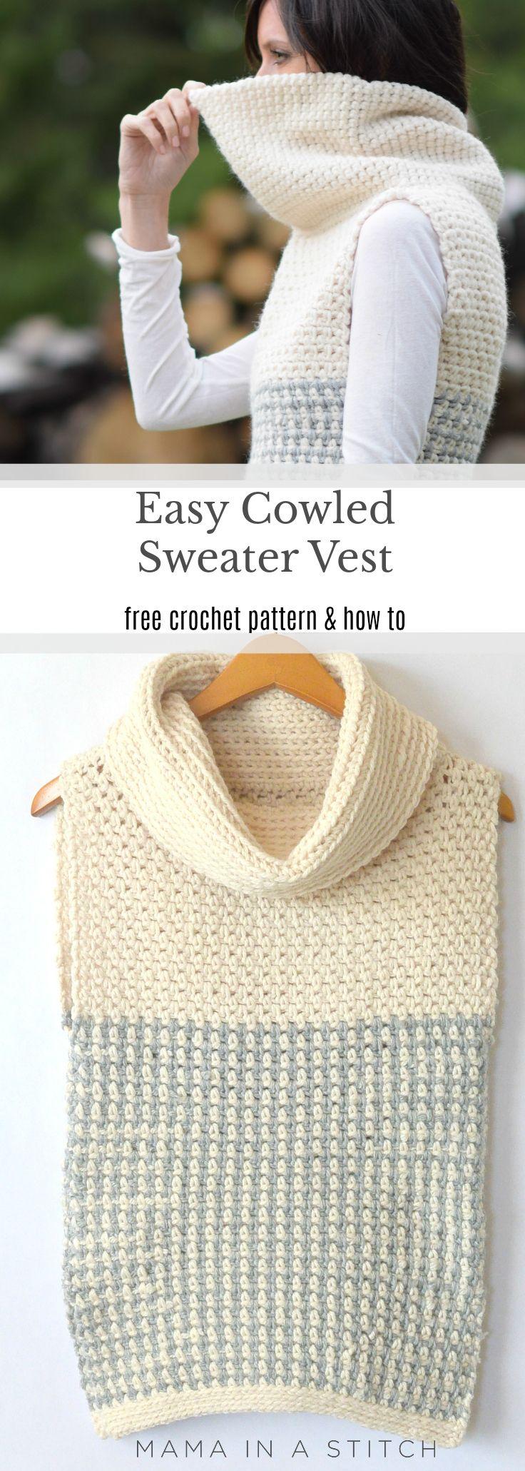 Easy Crochet Cowled Sweater Vest | Vests | Pinterest | Tejido ...