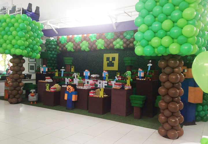 festa minecraft  Pesquisa Google  Minecraft  Pinterest  Birthdays and Craft -> Decoracao De Banheiro No Minecraft