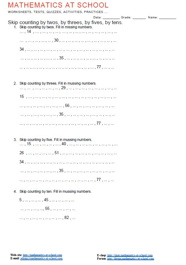 1st Grade Skip Counting Worksheets Skip Counting By Twos By Threes