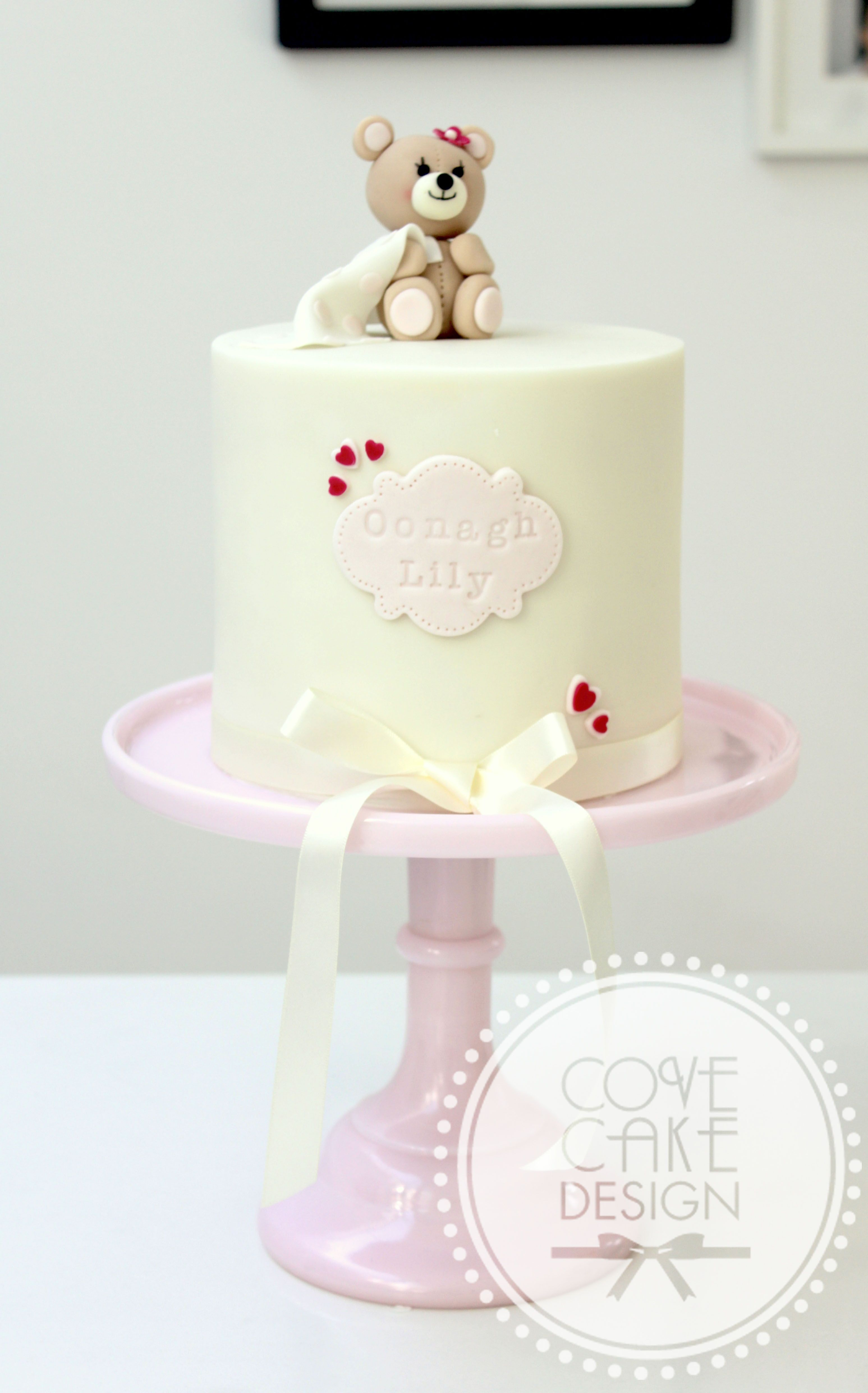 Cute Girl S Baby Shower Christening Cake In Pink And Ivory