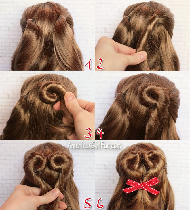 American Girl Doll Hairstyle Valentine S Day Heart Bun American Girl Doll Hairstyles American Girl Hairstyles Doll Hair