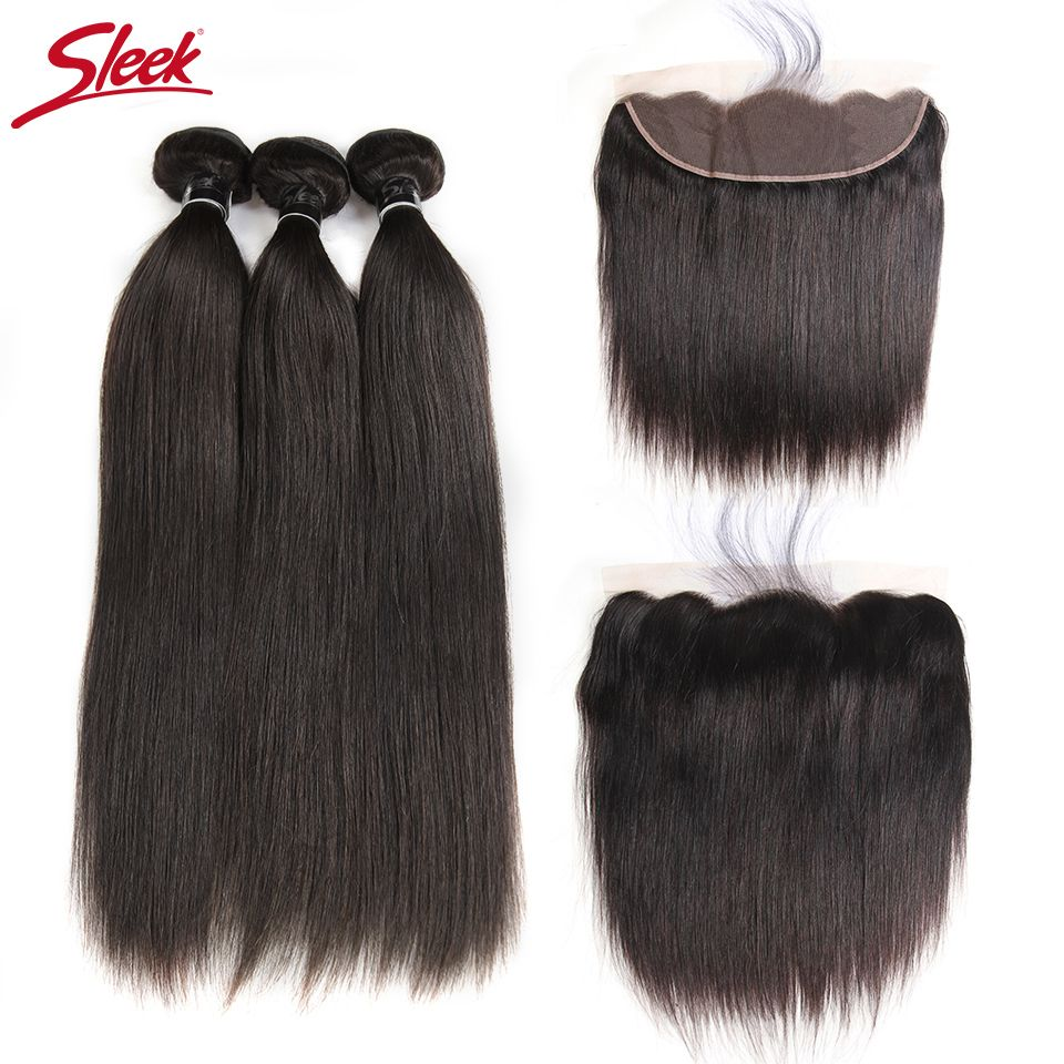 Sleek Hair Brazilian Straight Lace Frontal Closure With Bundles 4