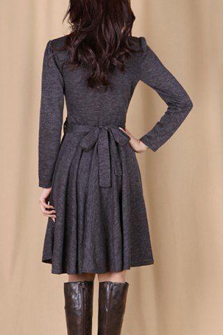 elegant solid color vneck waist laceup pleated dress for