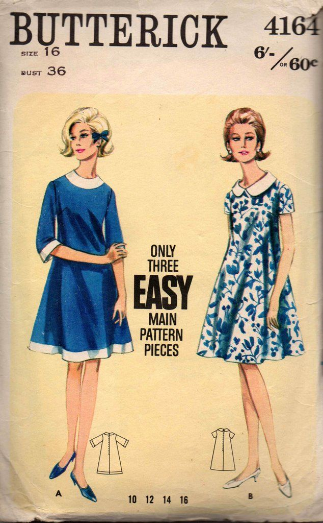 Butterick 4164 Womens Tent Dress with Contrast Trim 1960s Vintage ...