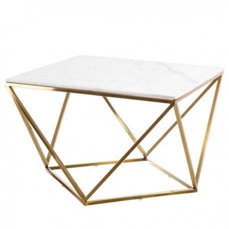 Mesa de centro moderna con estructura geom trica en - Mesas de marmol y cristal ...