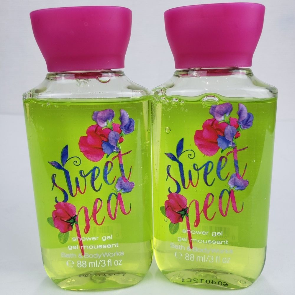 2 Bath Body Works Sweet Pea Travel Size Shower Gel Wash Mini 3 Fl