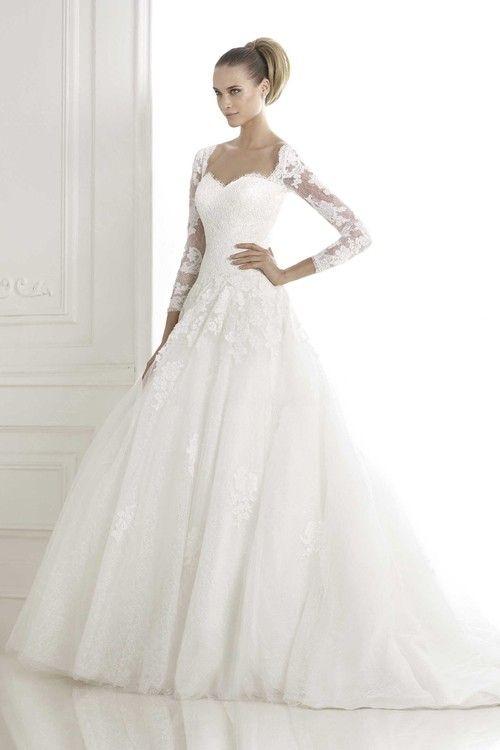 Princess Sweetheart Long Sleeves Tulle Lace Vintage Wedding Dress ...