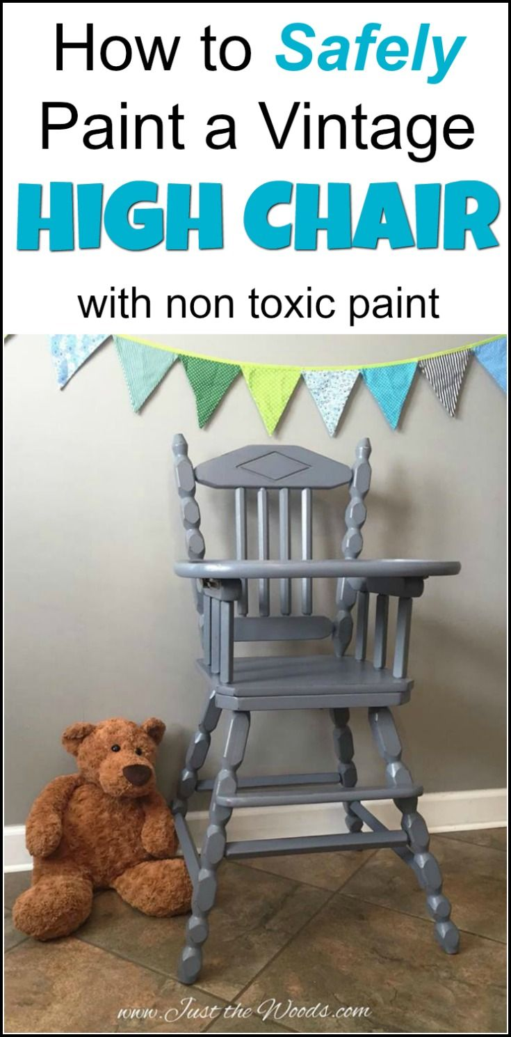 Vintage high chair makeover. painted high chair in non-toxic chalk type paint, no VOC - baby safe! How to safely paint an old wooden high chair using non-toxic, VOC free paint products. Hand Painted high chairs are a great family heirloom. | high chair painted | painted high chair | painted high chair ideas | painting a high chair | how to safely paint a high chair |