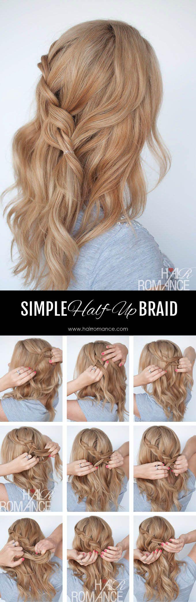 Hair romance simple halfup braid tutorial hair pinterest