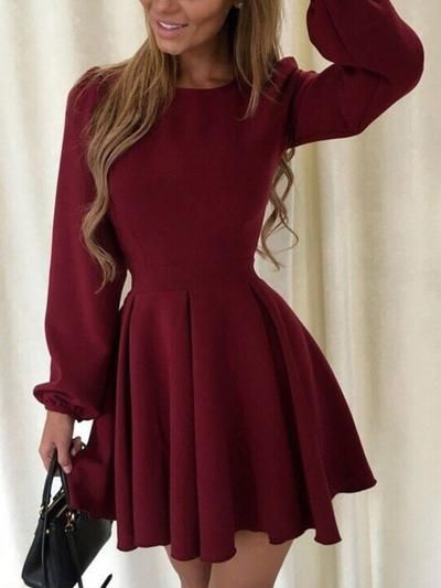 Autumn Long Sleeve Puff Sleeve Skater Dress -   18 dress Winter party ideas