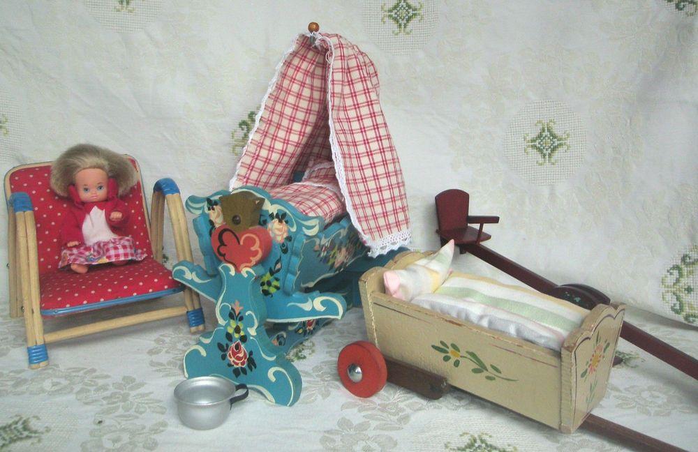 Grosse Puppenmöbel Wiege Handwagen Stuhl Wippe Püppchen