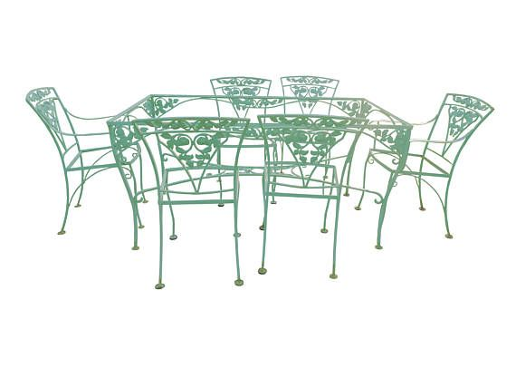 hollywood regency woodard patio garden table chair set teal