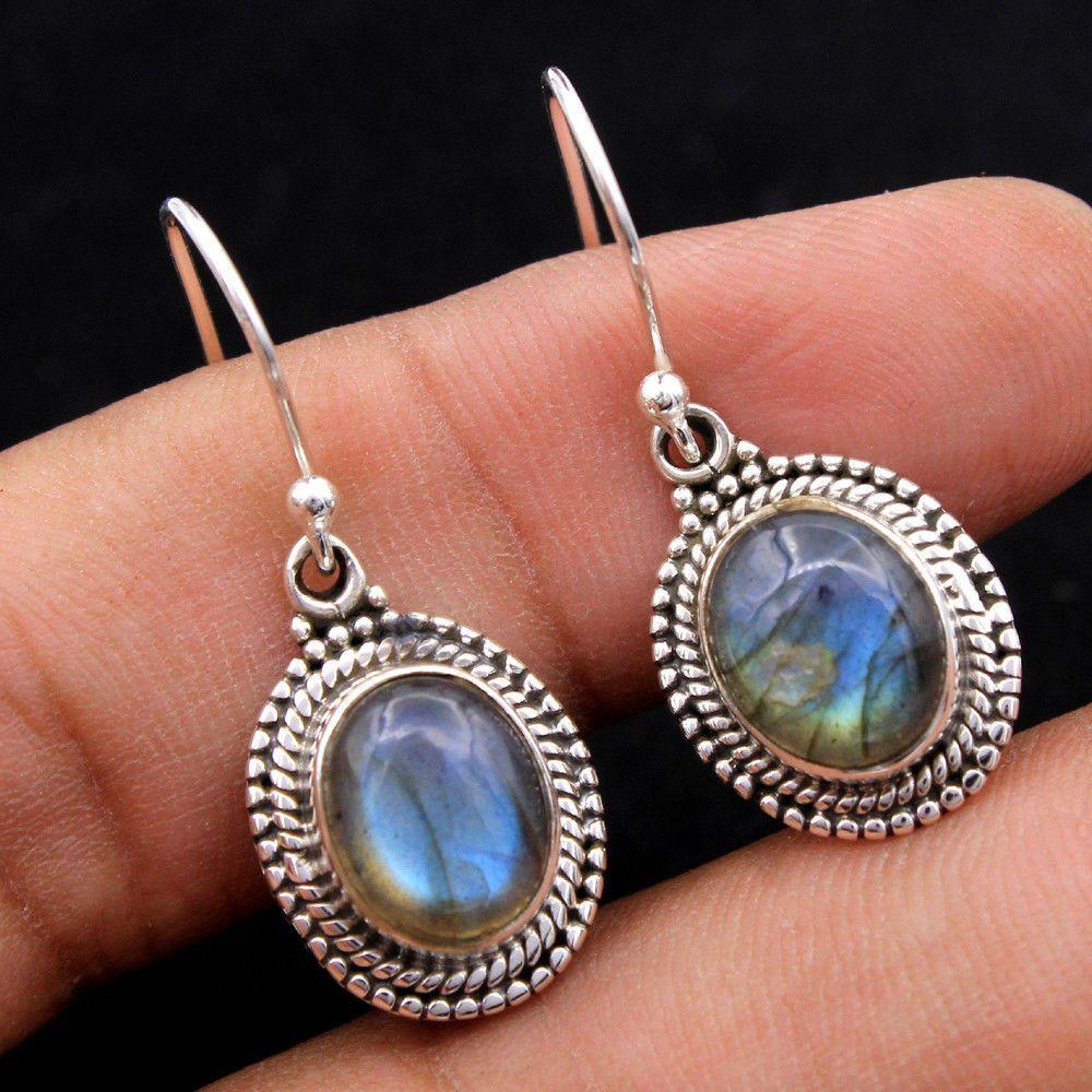 Blue Labradorite Silver Earrings~925 Sterling Silver Earrings ~ Handmade Earrings ~ Oval Shape Earrings~Stud Silver Jewelry