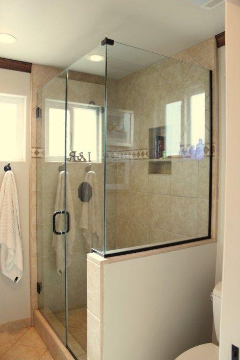 Pin By Becky Duff On Upstairs Bath Pinterest Bathroom Design Small Half Wall Shower Shower Doors